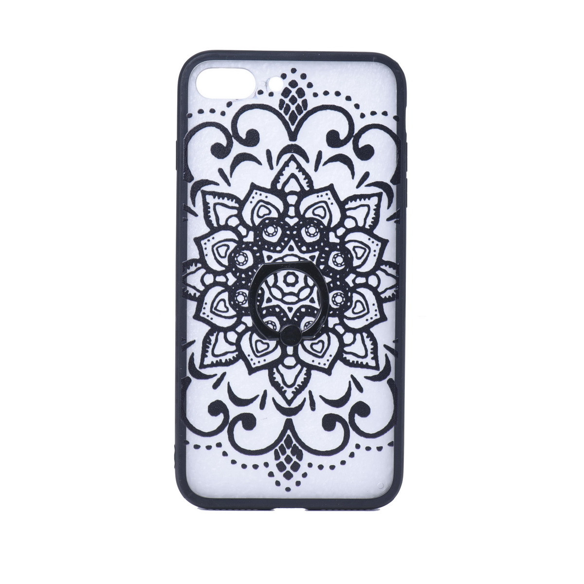 Чехол для Apple iPhone 7 Plus back cover с кольцом plastic Pattern Clear/Black