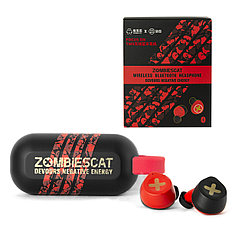 Bluetooth Гарнитура Senmai Zombies Cat TWS ZCT1, Red/Black