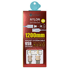 Кабель Type- C COTEetCI Nylon Series Magnet System Cable M42 CS2156-GD 2.4A 1.2m Gold