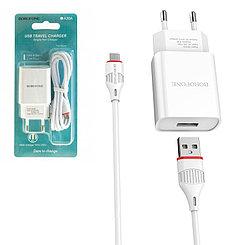 Сетевое зарядное устройство Borofone BA20A 1xUSB 5V-2.1A + кабель micro usb, White