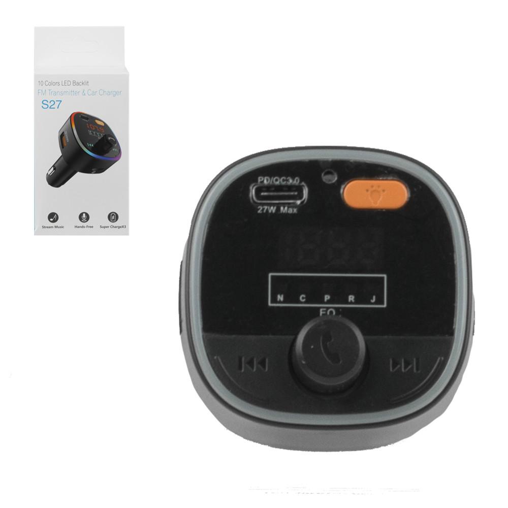 FM-Модулятор Bluetooth + Car Charger S27, Black