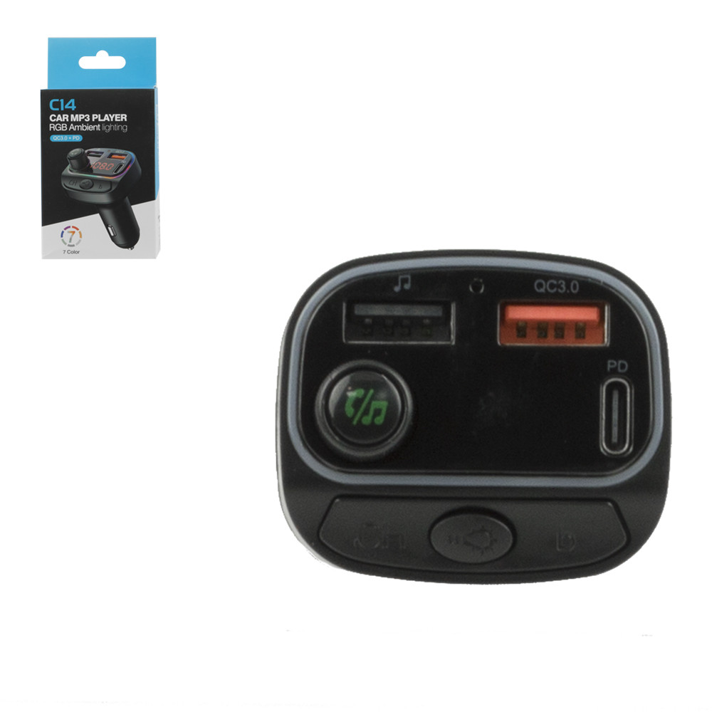 FM-Модулятор Bluetooth + Car Charger C14, Black
