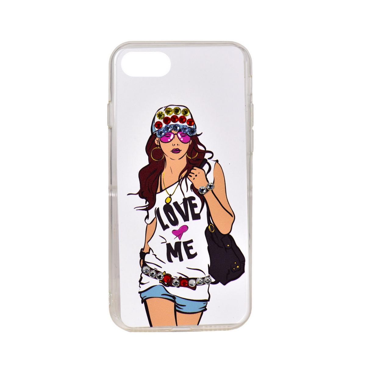 Чехол для Apple iPhone 7 back cover Girl Love Me Swarovski plastic White