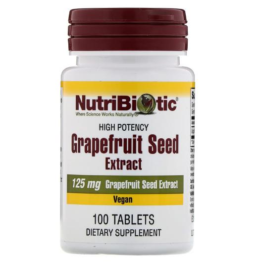 NutriBiotic, экстракт семян грейпфрута, 125 мг, 100 таблеток