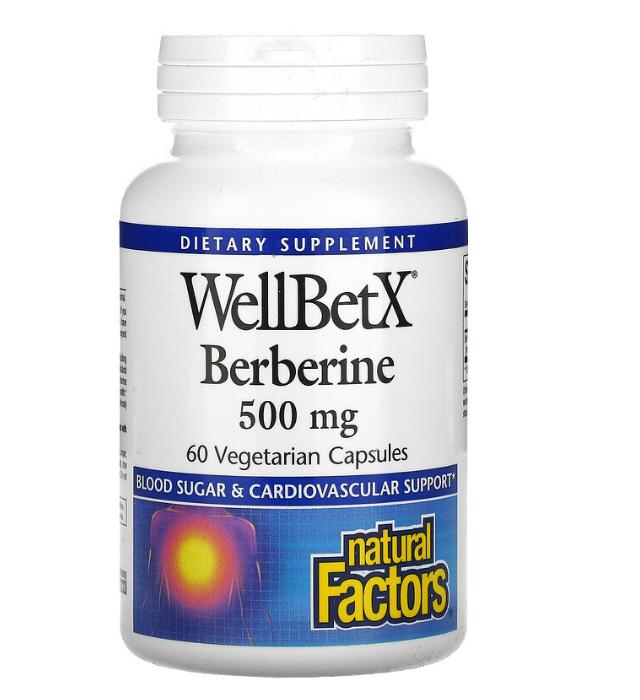 Natural Factors, WellBetX, берберин, 500 мг, 60 вегетарианских капсул