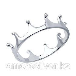 Кольцо SOKOLOV серебро с родием, без вставок 94011445 размеры - 14 15 16