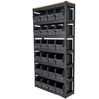 Складской стеллаж с черными ящиками 700-6 CH