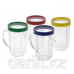Стаканы с цветным ободком и ручкой для Комбайн кухонный Magic Bullet комплект 4шт