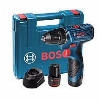 Bosch GSR 120-LI  2.0 Ач x 2 шт, Li-Ion, 12 В, кейс аккумуляторная дрель