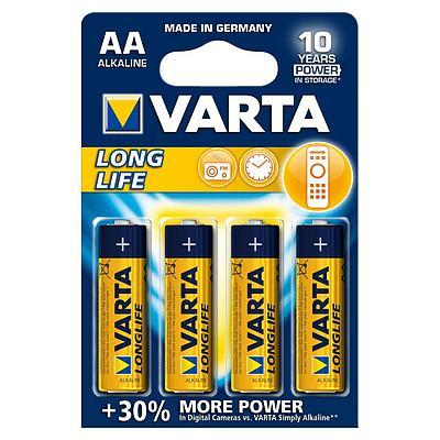 Батарейки Varta AA (LR6/MN1500), Longlife, alkaline, комплект - 4 штуки, [4906-4]