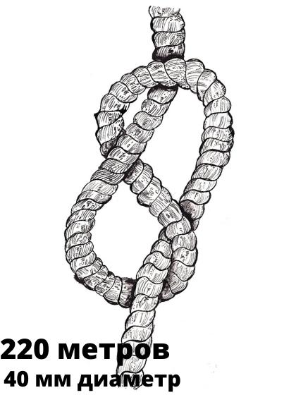 Канат: швартовый, синтетический (полипропиленовый), диа 40 мм, длина 220 метров