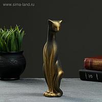 "Фигура ""Кошка Багира наклоненная"" черная/золото 5х5х20см"