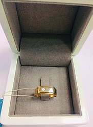 Кольцо с фианитом мужское / красное золото 18,5 размер
