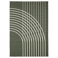 Ковер безворсовый ТЁММЕРБЮ темно-зеленый/белый с оттенком 160х230 ИКЕА, IKEA