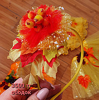 Ободок детский с осенними цветами, листьями и фруктами