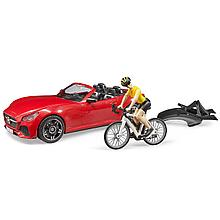 Bruder Игрушечный Спортивный автомобиль Roadster с фигуркой велосипедистки (Брудер 03-485)