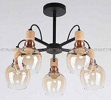 Люстра 5 ламп Modern Black-Wood-Copper Design