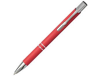 Шариковая кнопочная ручка Moneta с матовым антискользящим покрытием, красный