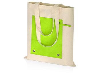 Складная хлопковая сумка для шопинга Gross с карманом, зеленое яблоко