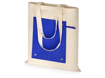 Складная хлопковая сумка для шопинга Gross с карманом, синий