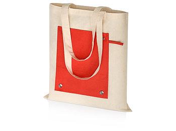 Складная хлопковая сумка для шопинга Gross с карманом, красный