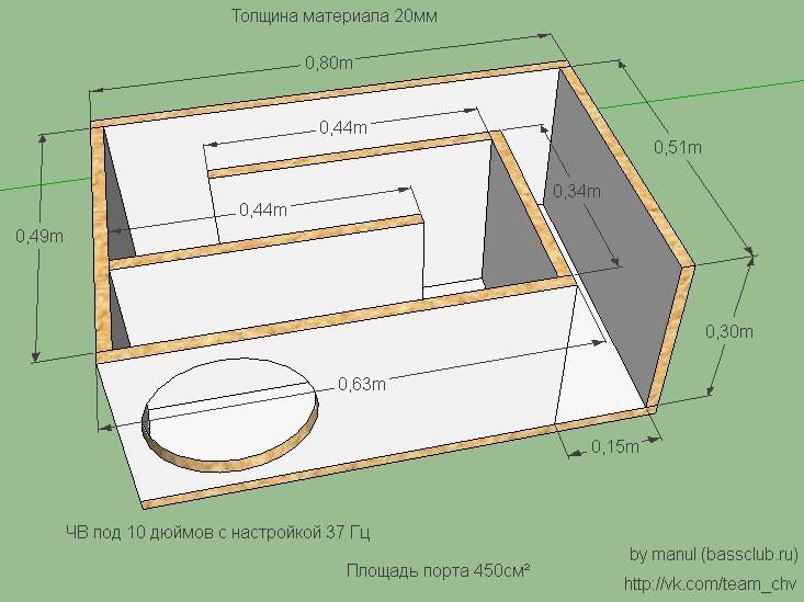 Короб для сабвуфера 10 ЧВ