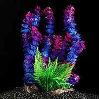 Растение искусственное аквариумное сине-зеленое на платформе 30 см