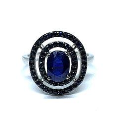 Кольцо с Сапфиром, вокруг Сапфиры, бриллиантовой огранки