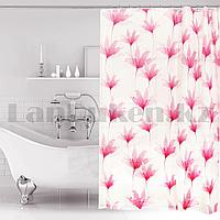 Водонепроницаемая гелевая шторка для ванной OUMEIYA для душа 180х180 см с розовыми цветами прозрачная