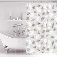 Водонепроницаемая гелевая шторка для ванной OUMEIYA для душа 180х180 см с листьями прозрачная