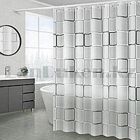 Водонепроницаемая гелевая шторка для ванной OUMEIYA для душа 180х180 см с квадратами прозрачная