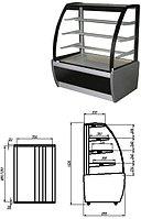 Кондитерская витрина серого цвета Carboma ВХСв-1,3Д (Техно) +6+12