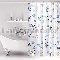 Водонепроницаемая тканевая шторка полупрозрачная для ванной Bath Fashion для душа 180х180 см с ракушками