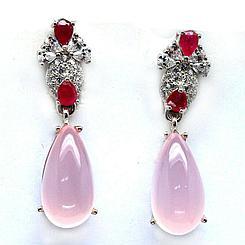 Комплект с розовым Кварцем и Рубинами.