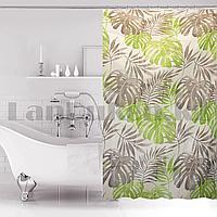 Водонепроницаемая гелевая шторка для ванной OUMEIYA для душа 180х180 см с листьями монстеры  прозрачная