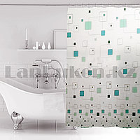 Водонепроницаемая гелевая шторка для ванной OUMEIYA для душа 180х180 см в квадратик прозрачная