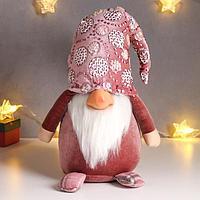 Кукла интерьерная 'Дед Мороз в розовом бархатном комбинезоне и колпаке с цветами' 60х18х24см 62601