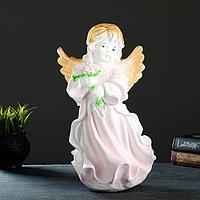 """Фигура """"Ангел в платье с букетом"""" бело-розовый 20х21х36см"""