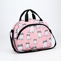 Сумка дорожная детская, отдел на молнии, 2 наружных кармана, длинный ремень, цвет розовый, 'Кошки в очках'