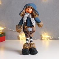 Кукла интерьерная 'Мальчик в комбинезоне в клетку и синем колпаке' 40х9х15 см