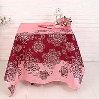 Набор Розовый фламинго (скатерть 140*140 см, салфетки 30*30 см 6 шт), трикот, 100 п/э