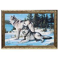 Гобеленовая картина 'Волки перед охотой' 44*64 см рамка МИКС