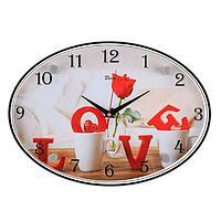 Часы настенные, серия Люди, 'LOVE', 24х34 см, микс