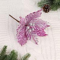 Декор 'Зимний цветок' 21*25 см, шарики, розовый