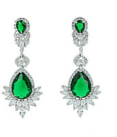 """Серьги """"Султан Ахмет"""" с зелеными кристаллами"""