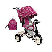 Детский трехколесный велосипед, Nika ВД5М/1 вишневый в клетку