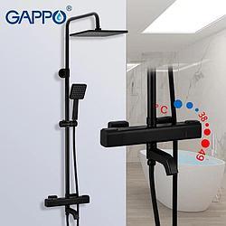 Gappo 2491-6. Душевая система с термостатом. Цвет чёрный.