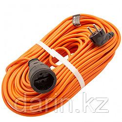 Удлинитель-шнур силовой 50 м, 16А, тип УХ16, ПВС, 1 розетка без заземления Сибртех