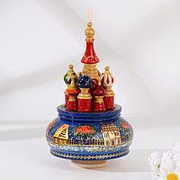 Сувенир музыкальный 'Храм', зима (синий фон) ручная роспись