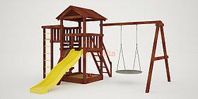 """Детская площадка """"Савушка Мастер"""" - 3 с качелями """"Гнездо"""" 1 метр (покрашенный)"""